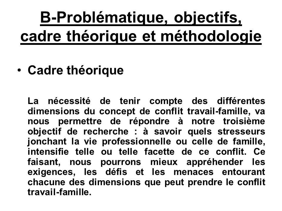 B-Problématique, objectifs, cadre théorique et méthodologie Cadre théorique La nécessité de tenir compte des différentes dimensions du concept de conf