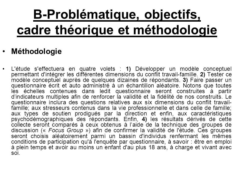 B-Problématique, objectifs, cadre théorique et méthodologie Méthodologie L'étude s'effectuera en quatre volets : 1) Développer un modèle conceptuel pe
