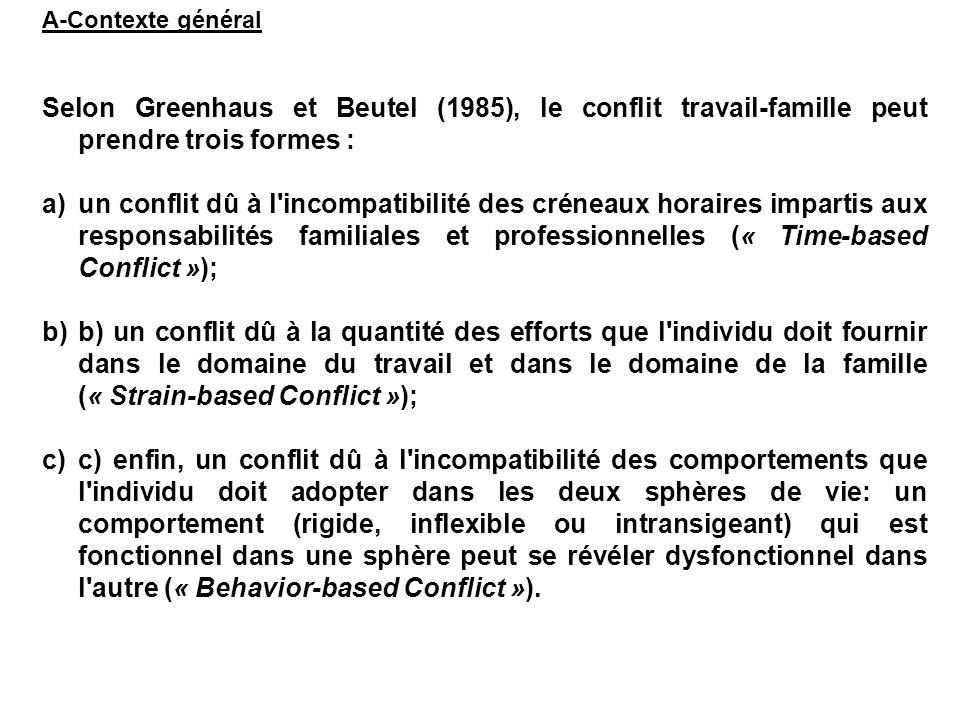 A-Contexte général Selon Greenhaus et Beutel (1985), le conflit travail-famille peut prendre trois formes : a)un conflit dû à l'incompatibilité des cr