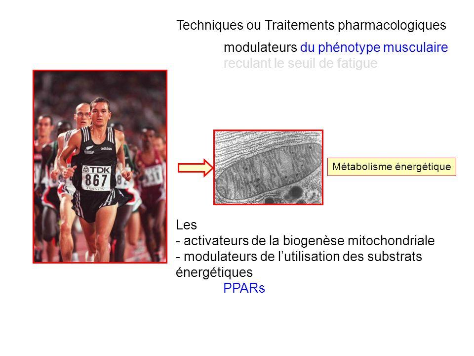 Métabolisme énergétique Techniques ou Traitements pharmacologiques modulateurs du phénotype musculaire reculant le seuil de fatigue Les - activateurs