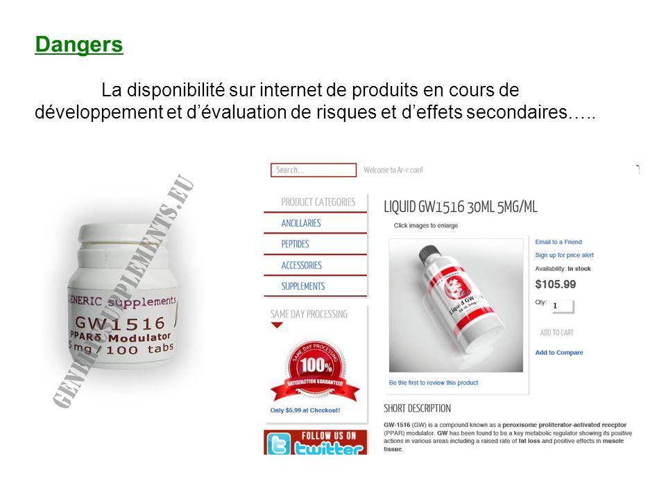 Dangers La disponibilité sur internet de produits en cours de développement et dévaluation de risques et deffets secondaires…..