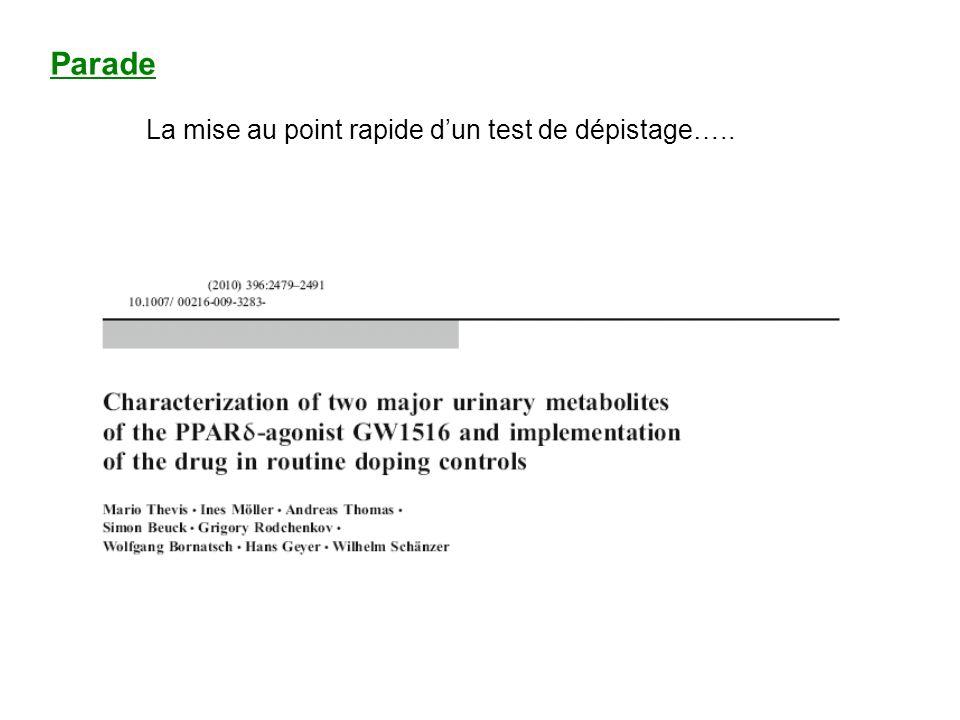 Parade La mise au point rapide dun test de dépistage…..