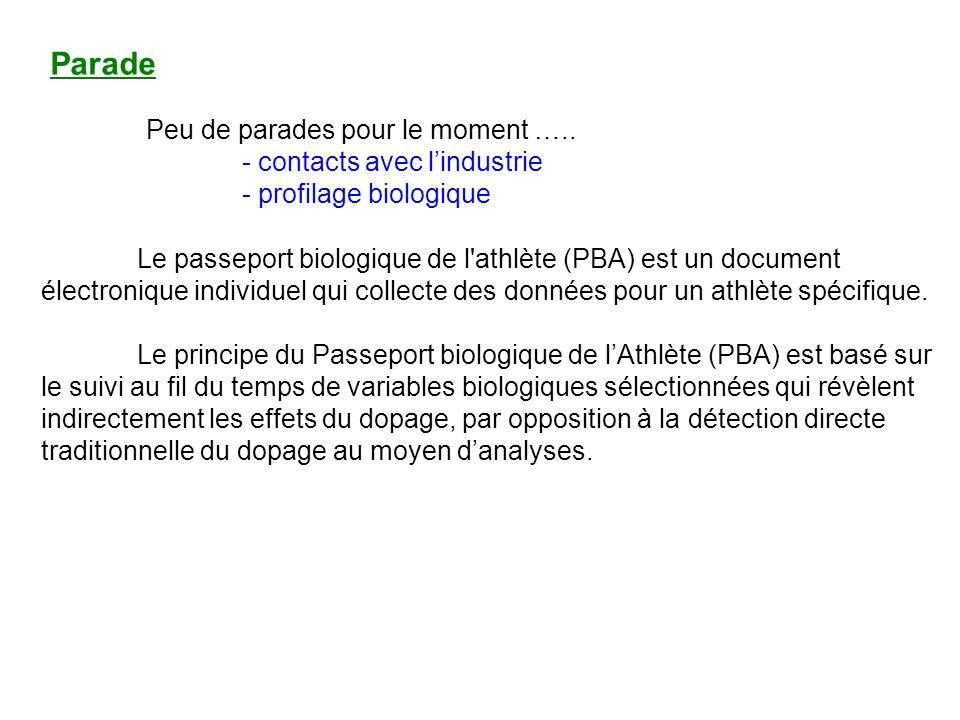Parade Peu de parades pour le moment ….. - contacts avec lindustrie - profilage biologique Le passeport biologique de l'athlète (PBA) est un document