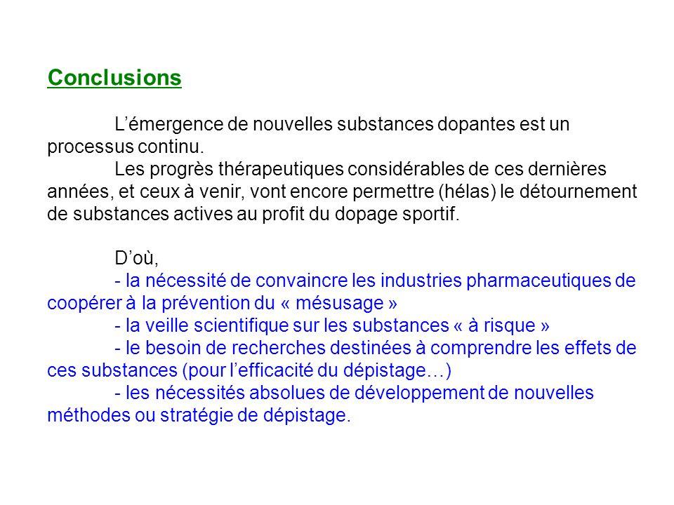 Conclusions Lémergence de nouvelles substances dopantes est un processus continu. Les progrès thérapeutiques considérables de ces dernières années, et