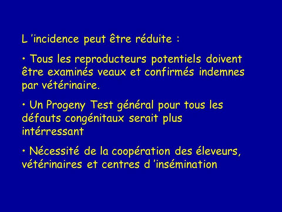L incidence peut être réduite : Tous les reproducteurs potentiels doivent être examinés veaux et confirmés indemnes par vétérinaire. Un Progeny Test g