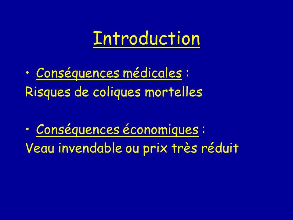 Introduction Conséquences médicales : Risques de coliques mortelles Conséquences économiques : Veau invendable ou prix très réduit