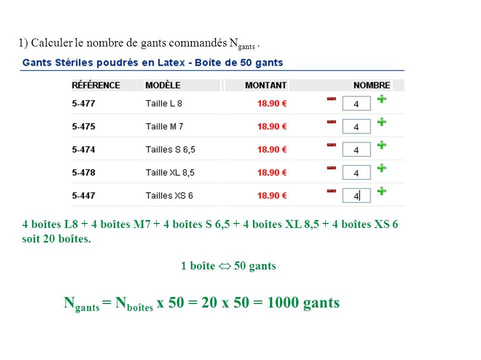 1) Calculer le nombre de gants commandés N gants. 4 boîtes L8 + 4 boîtes M7 + 4 boîtes S 6,5 + 4 boîtes XL 8,5 + 4 boîtes XS 6 soit 20 boîtes. 1 boîte