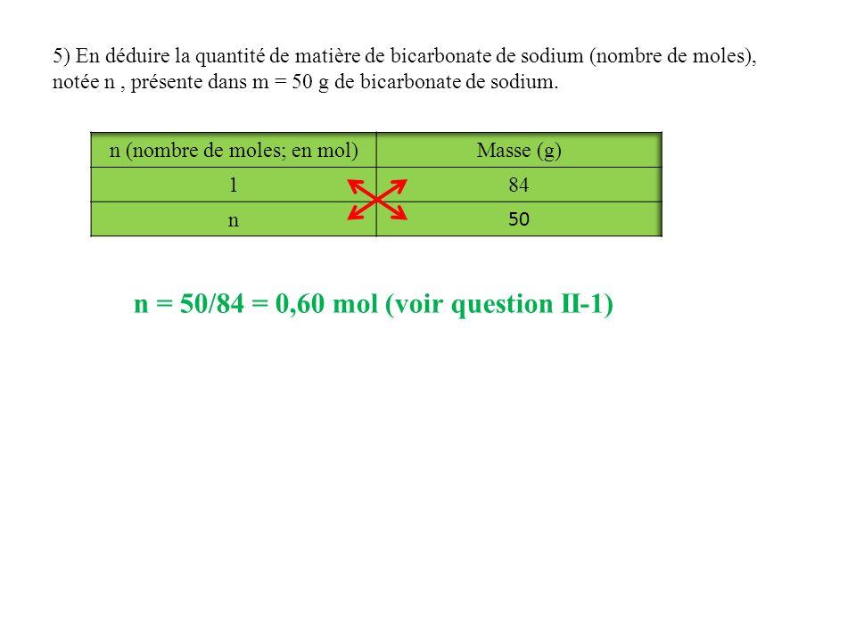 5) En déduire la quantité de matière de bicarbonate de sodium (nombre de moles), notée n, présente dans m = 50 g de bicarbonate de sodium. n = 50/84 =