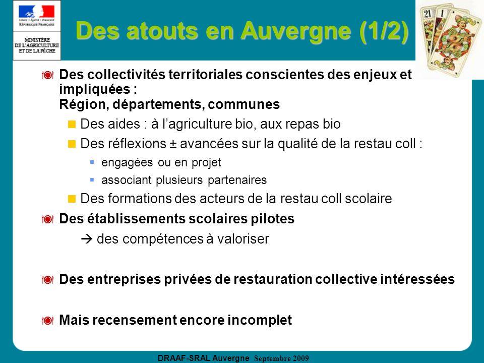 DRAAF-SRAL Auvergne Septembre 2009 Des atouts en Auvergne (1/2) Des collectivités territoriales conscientes des enjeux et impliquées : Région, départe