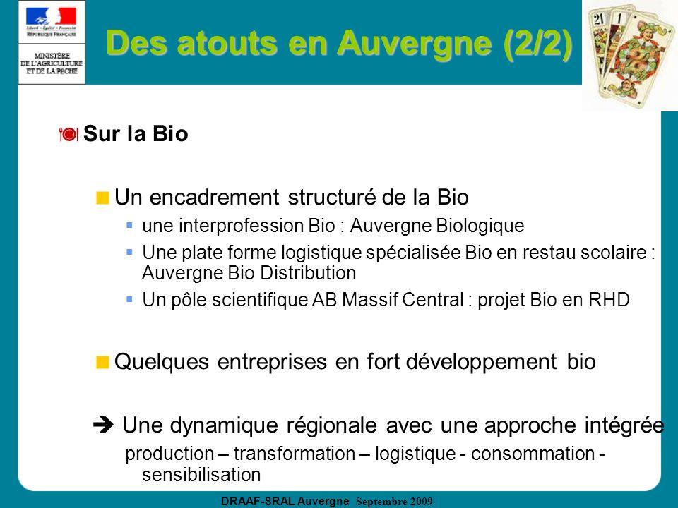 DRAAF-SRAL Auvergne Septembre 2009 Des atouts en Auvergne (2/2) Sur la Bio Un encadrement structuré de la Bio une interprofession Bio : Auvergne Biolo