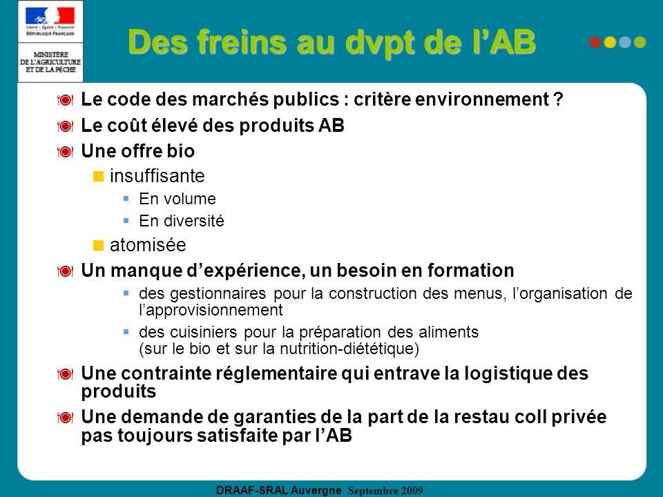 DRAAF-SRAL Auvergne Septembre 2009 Des freins au dvpt de lAB Le code des marchés publics : critère environnement ? Le coût élevé des produits AB Une o