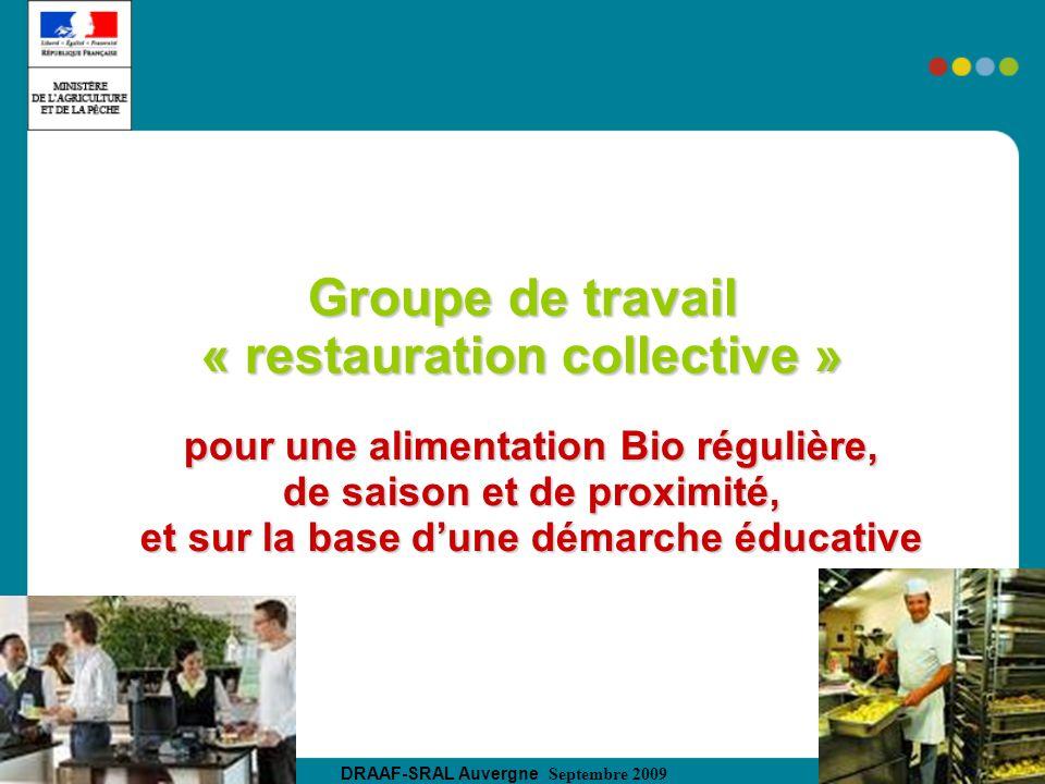 DRAAF-SRAL Auvergne Septembre 2009 Groupe de travail « restauration collective » pour une alimentation Bio régulière, de saison et de proximité, et su