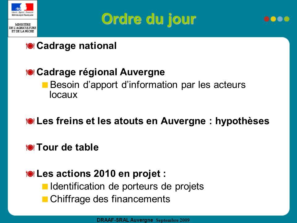 DRAAF-SRAL Auvergne Septembre 2009 Ordre du jour Cadrage national Cadrage régional Auvergne Besoin dapport dinformation par les acteurs locaux Les fre