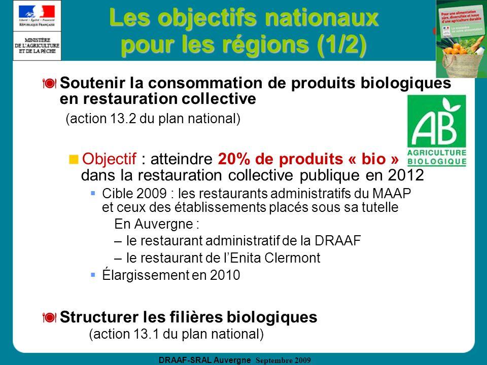 DRAAF-SRAL Auvergne Septembre 2009 Les objectifs nationaux pour les régions (1/2) Soutenir la consommation de produits biologiques en restauration col