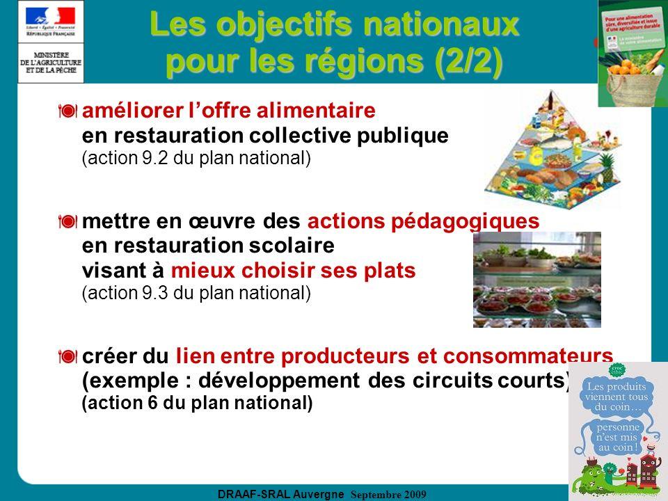 DRAAF-SRAL Auvergne Septembre 2009 Les objectifs nationaux pour les régions (2/2) améliorer loffre alimentaire en restauration collective publique (ac
