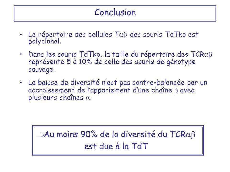 Le répertoire des cellules T des souris TdTko est polyclonal. Dans les souris TdTko, la taille du répertoire des TCR représente 5 à 10% de celle des s