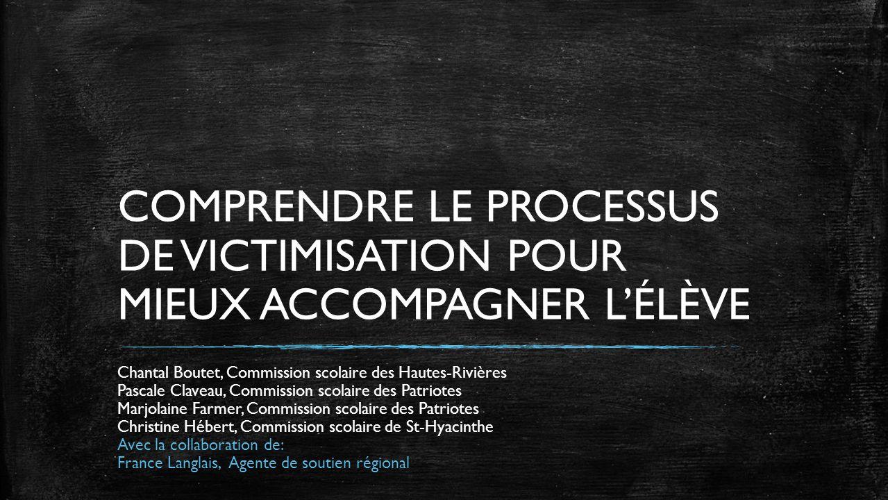 COMPRENDRE LE PROCESSUS DE VICTIMISATION POUR MIEUX ACCOMPAGNER LÉLÈVE Chantal Boutet, Commission scolaire des Hautes-Rivières Pascale Claveau, Commis