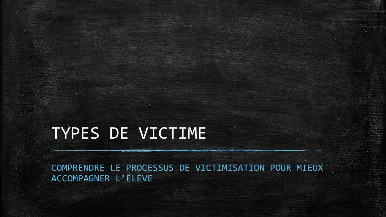 TYPES DE VICTIME COMPRENDRE LE PROCESSUS DE VICTIMISATION POUR MIEUX ACCOMPAGNER LÉLÈVE