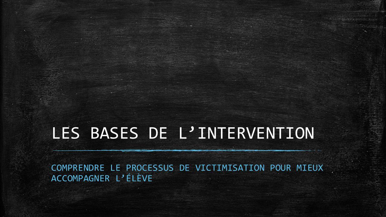 LES BASES DE LINTERVENTION COMPRENDRE LE PROCESSUS DE VICTIMISATION POUR MIEUX ACCOMPAGNER LÉLÈVE