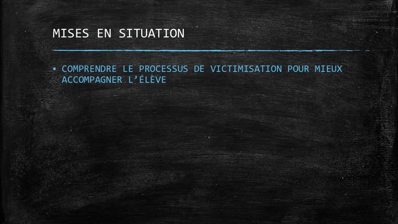 MISES EN SITUATION COMPRENDRE LE PROCESSUS DE VICTIMISATION POUR MIEUX ACCOMPAGNER LÉLÈVE