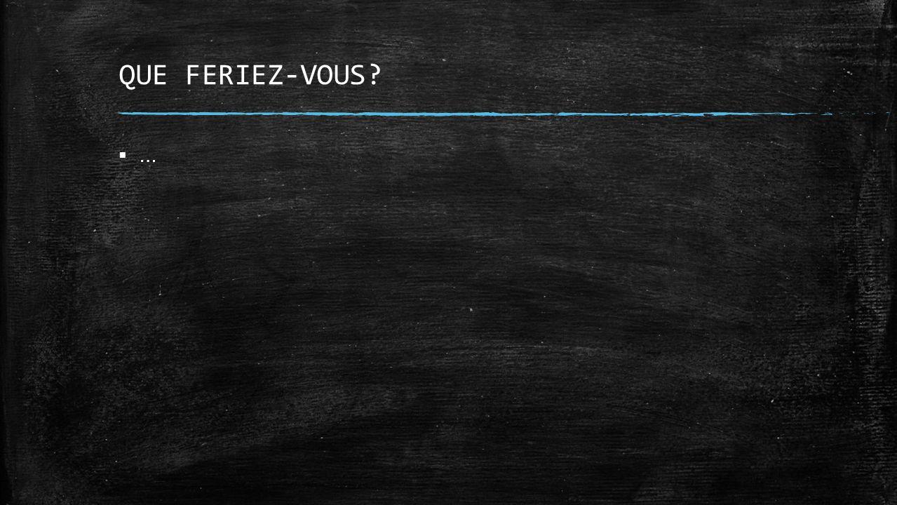 QUE FERIEZ-VOUS? …