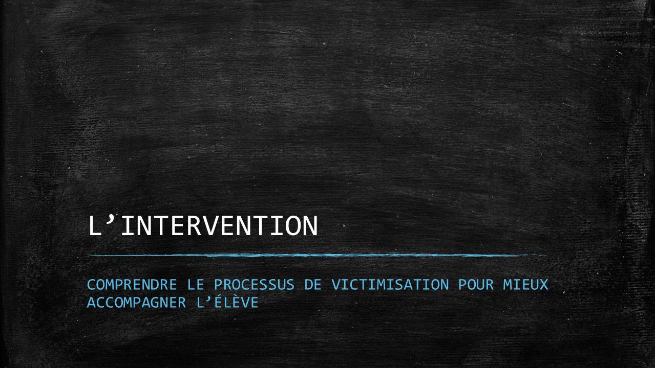LINTERVENTION COMPRENDRE LE PROCESSUS DE VICTIMISATION POUR MIEUX ACCOMPAGNER LÉLÈVE
