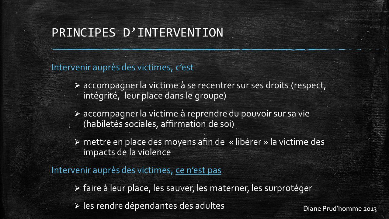 PRINCIPES DINTERVENTION Intervenir auprès des victimes, cest accompagner la victime à se recentrer sur ses droits (respect, intégrité, leur place dans