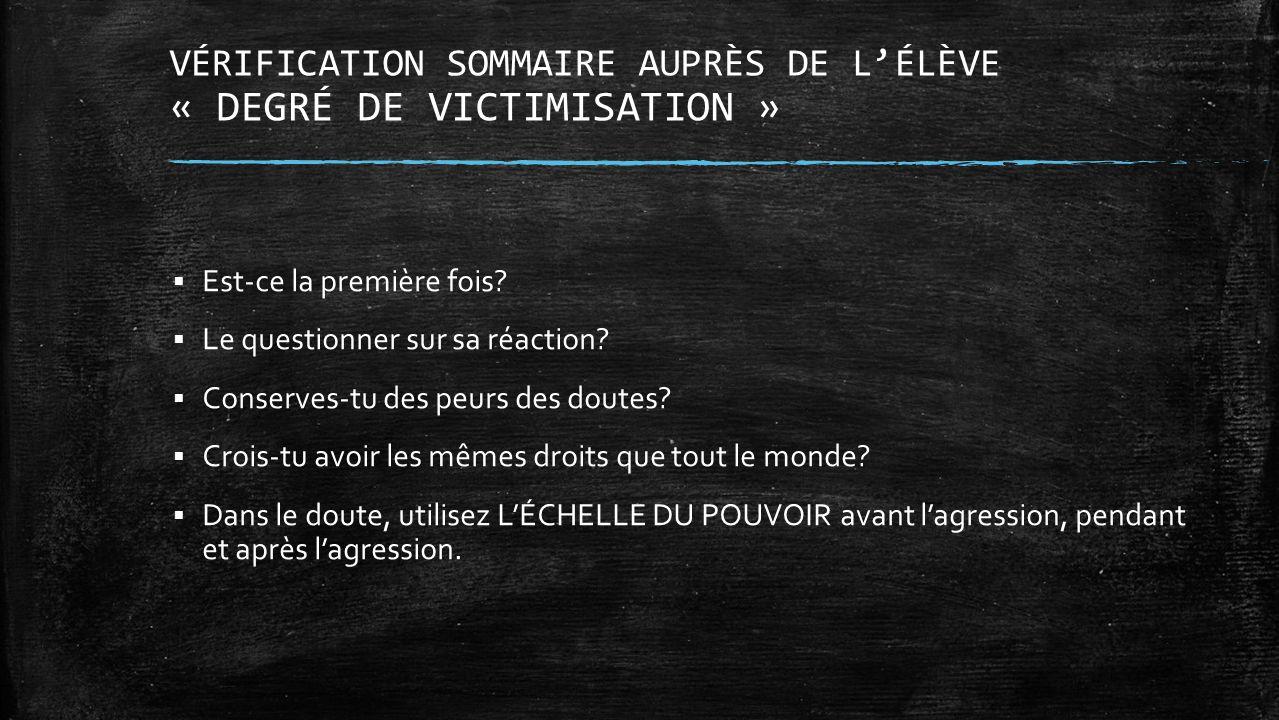 VÉRIFICATION SOMMAIRE AUPRÈS DE LÉLÈVE « DEGRÉ DE VICTIMISATION » Est-ce la première fois? Le questionner sur sa réaction? Conserves-tu des peurs des