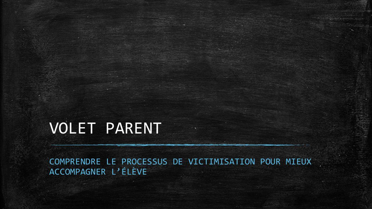 VOLET PARENT COMPRENDRE LE PROCESSUS DE VICTIMISATION POUR MIEUX ACCOMPAGNER LÉLÈVE