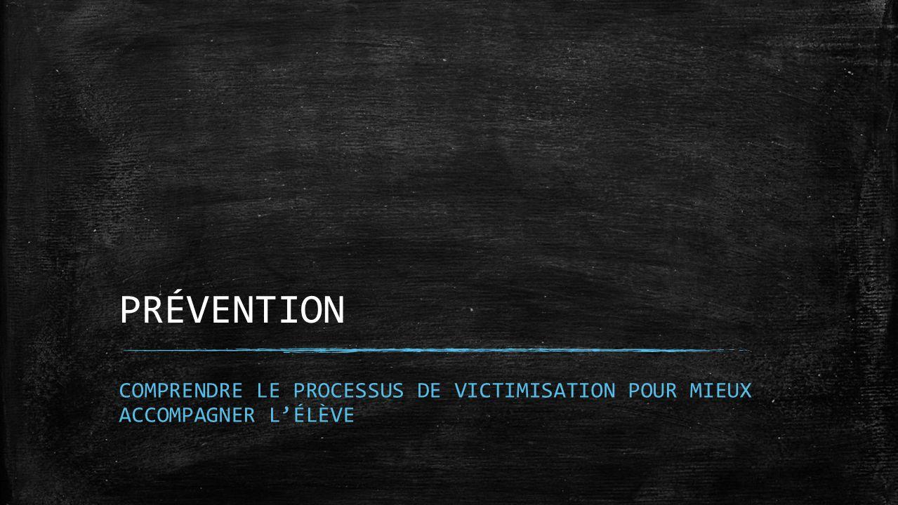 PRÉVENTION COMPRENDRE LE PROCESSUS DE VICTIMISATION POUR MIEUX ACCOMPAGNER LÉLÈVE