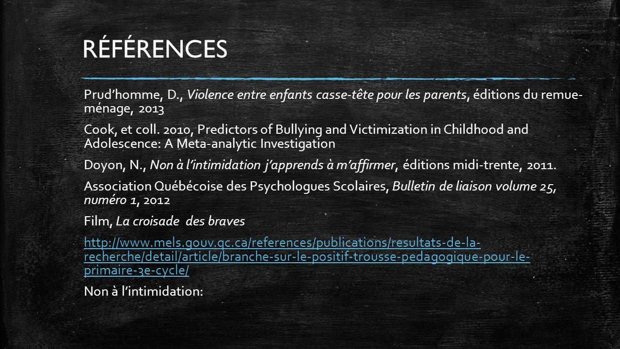 Prudhomme, D., Violence entre enfants casse-tête pour les parents, éditions du remue- ménage, 2013 Cook, et coll. 2010, Predictors of Bullying and Vic