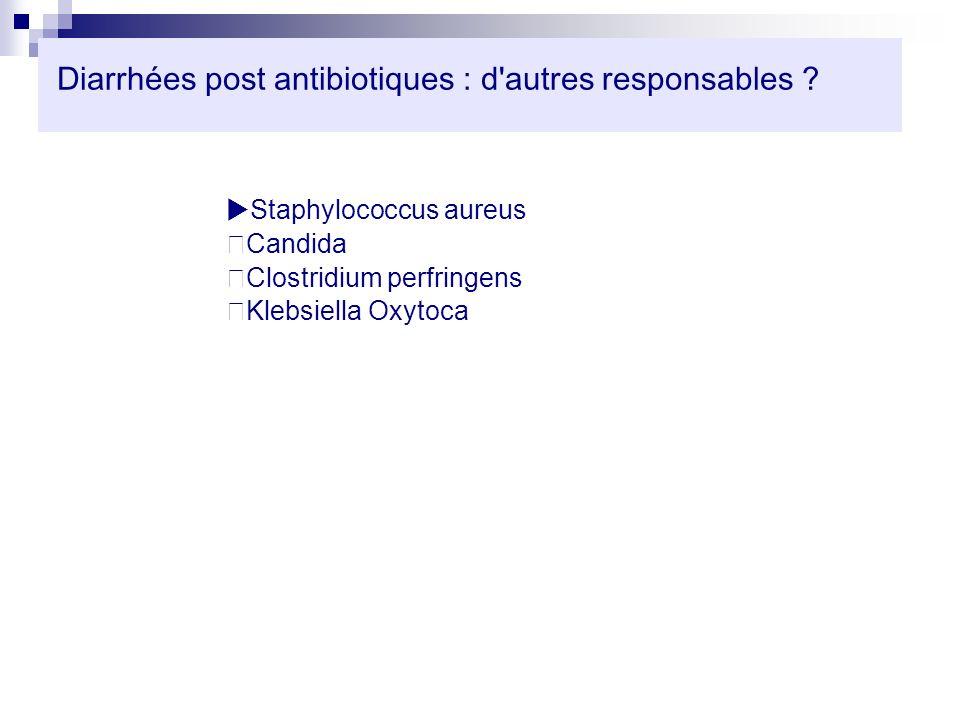 Diarrhées post antibiotiques : d'autres responsables ? Staphylococcus aureus Candida Clostridium perfringens Klebsiella Oxytoca