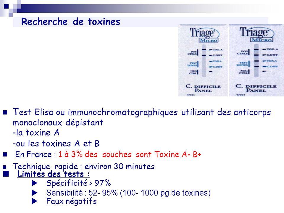 Recherche de toxines T est Elisa ou immunochromatographiques utilisant des anticorps monoclonaux dépistant -la toxine A -ou les toxines A et B En Fran