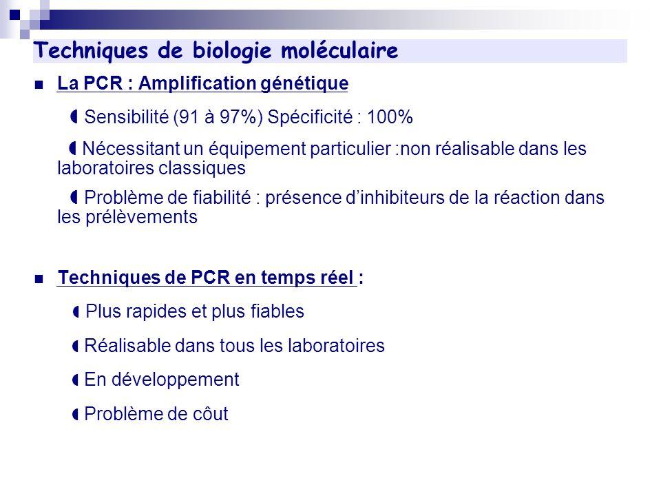 Techniques de biologie moléculaire La PCR : Amplification génétique Sensibilité (91 à 97%) Spécificité : 100% Nécessitant un équipement particulier :n