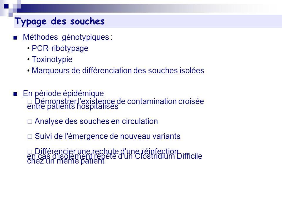 Méthodes génotypiques : PCR-ribotypage Toxinotypie Marqueurs de différenciation des souches isolées En période épidémique Démonstrer l'existence de co