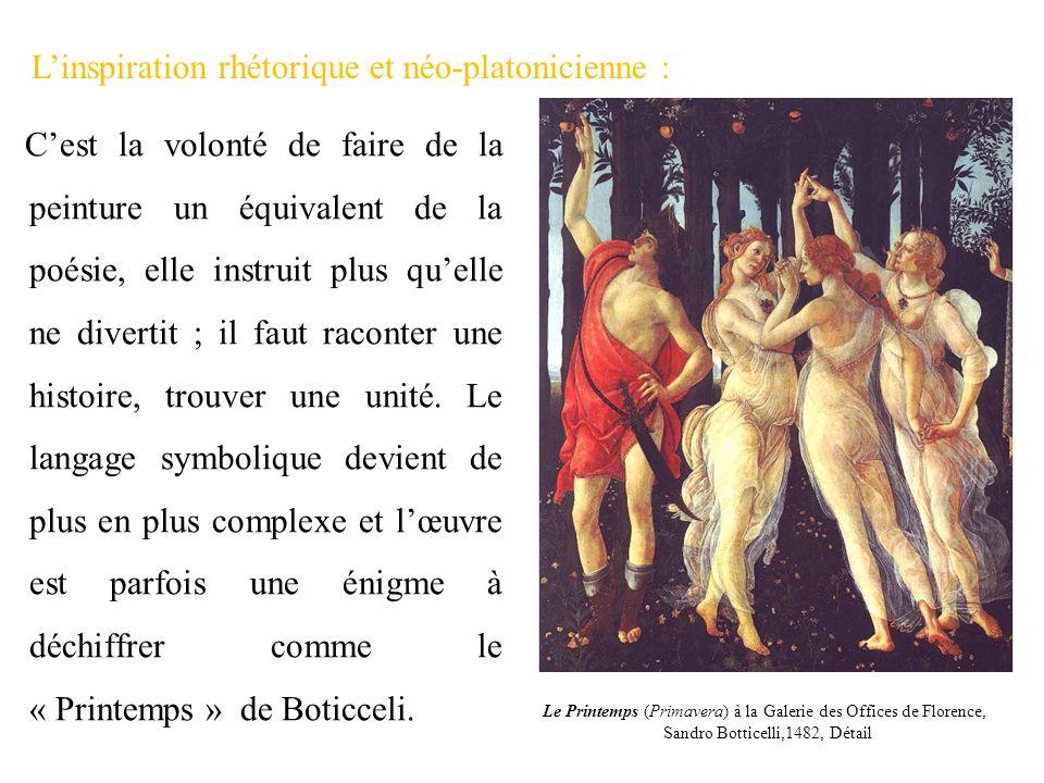 Linspiration rhétorique et néo-platonicienne : Cest la volonté de faire de la peinture un équivalent de la poésie, elle instruit plus quelle ne divert