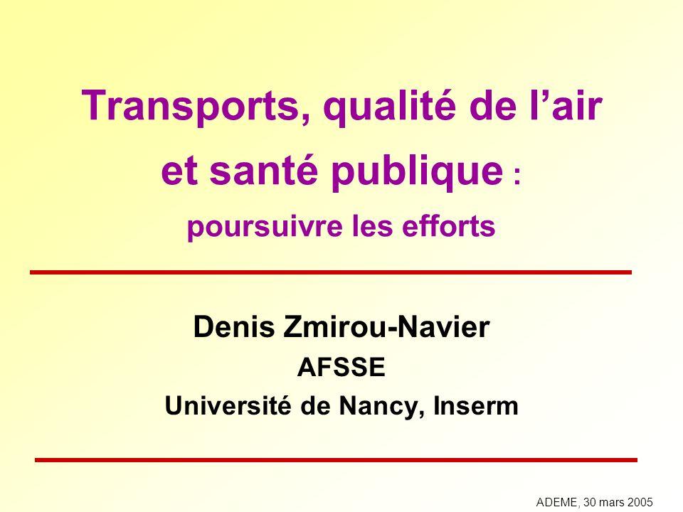 Transports, qualité de lair et santé publique : poursuivre les efforts Denis Zmirou-Navier AFSSE Université de Nancy, Inserm ADEME, 30 mars 2005