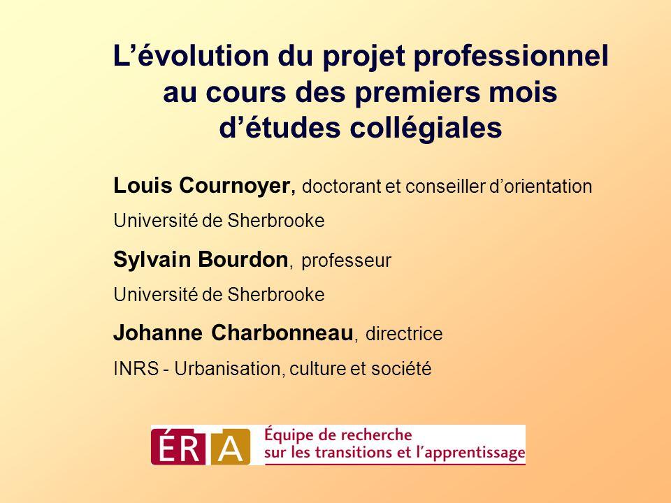 Lévolution du projet professionnel au cours des premiers mois détudes collégiales Louis Cournoyer, doctorant et conseiller dorientation Université de