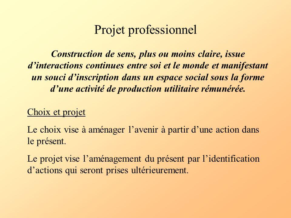 Projet professionnel Construction de sens, plus ou moins claire, issue dinteractions continues entre soi et le monde et manifestant un souci dinscript