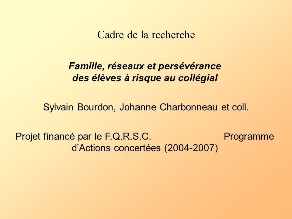 Cadre de la recherche Famille, réseaux et persévérance des élèves à risque au collégial Sylvain Bourdon, Johanne Charbonneau et coll. Projet financé p