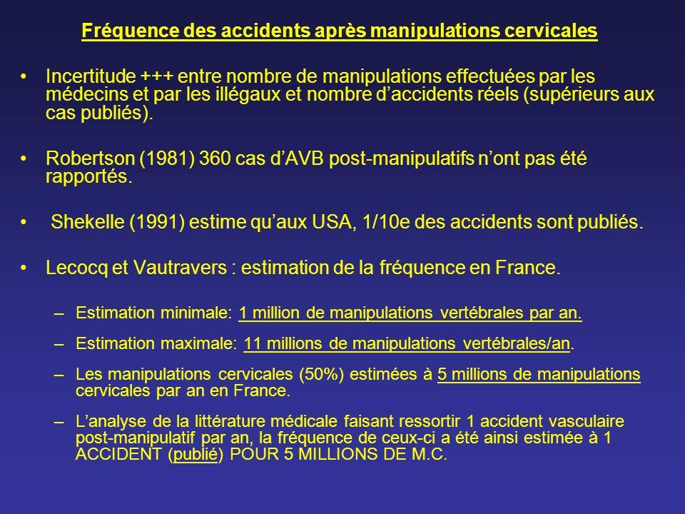 Fréquence des accidents après manipulations cervicales Incertitude +++ entre nombre de manipulations effectuées par les médecins et par les illégaux e