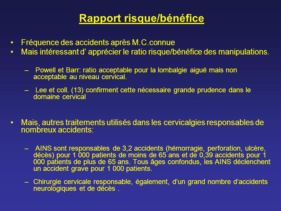 Rapport risque/bénéfice Fréquence des accidents après M.C.connue Mais intéressant d apprécier le ratio risque/bénéfice des manipulations. – Powell et