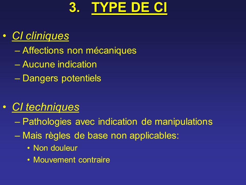 3.TYPE DE CI CI cliniques –Affections non mécaniques –Aucune indication –Dangers potentiels CI techniques –Pathologies avec indication de manipulation