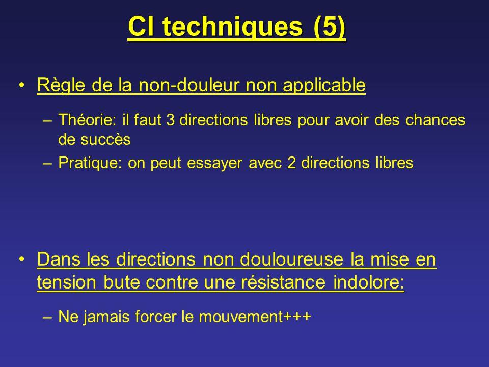 CI techniques (5) Règle de la non-douleur non applicable –Théorie: il faut 3 directions libres pour avoir des chances de succès –Pratique: on peut ess