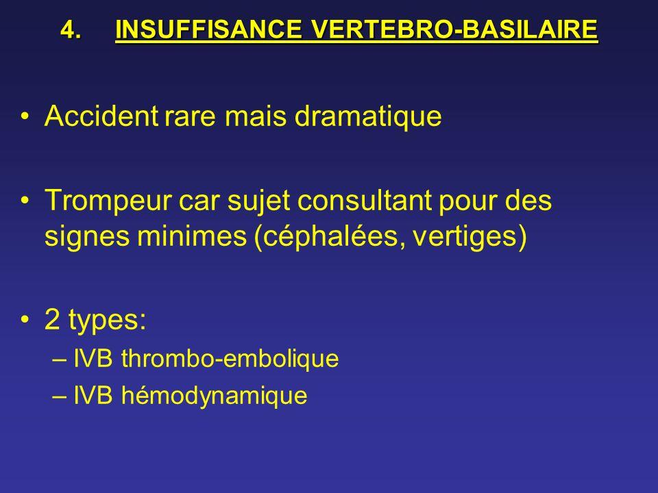4.INSUFFISANCE VERTEBRO-BASILAIRE Accident rare mais dramatique Trompeur car sujet consultant pour des signes minimes (céphalées, vertiges) 2 types: –