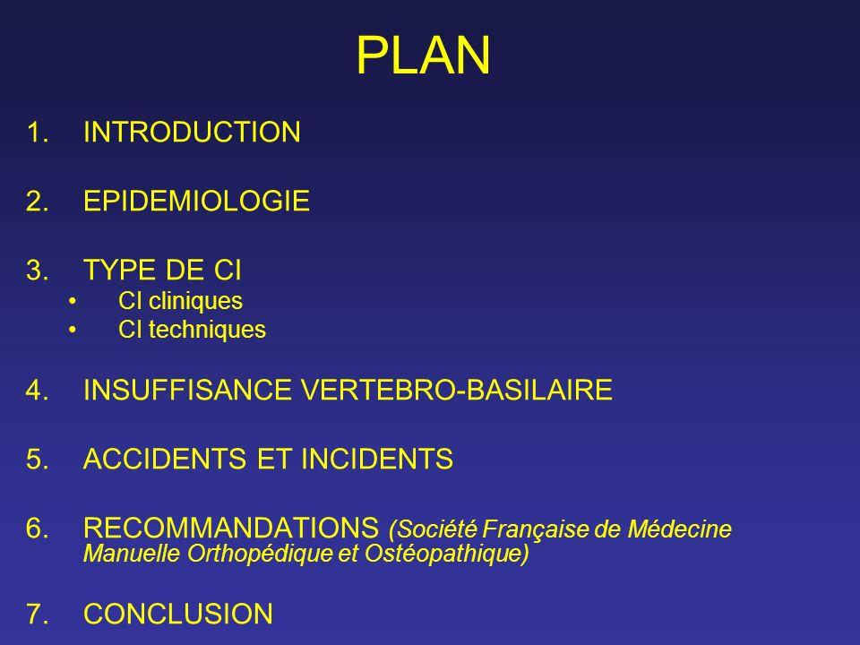 PLAN 1.INTRODUCTION 2.EPIDEMIOLOGIE 3.TYPE DE CI CI cliniques CI techniques 4.INSUFFISANCE VERTEBRO-BASILAIRE 5.ACCIDENTS ET INCIDENTS 6.RECOMMANDATIO