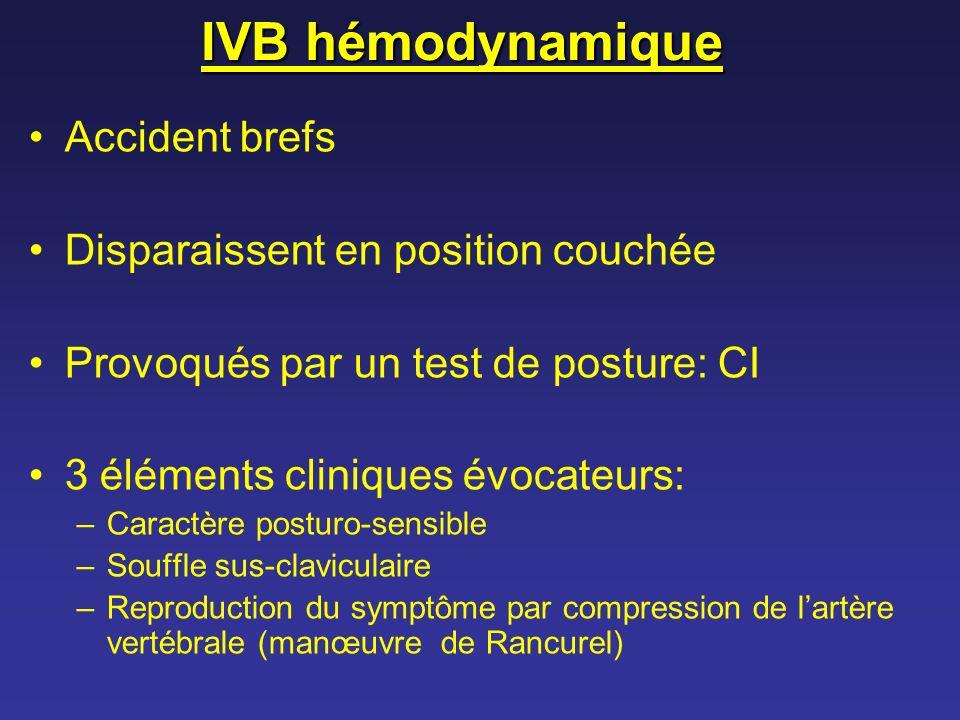 IVB hémodynamique Accident brefs Disparaissent en position couchée Provoqués par un test de posture: CI 3 éléments cliniques évocateurs: –Caractère po