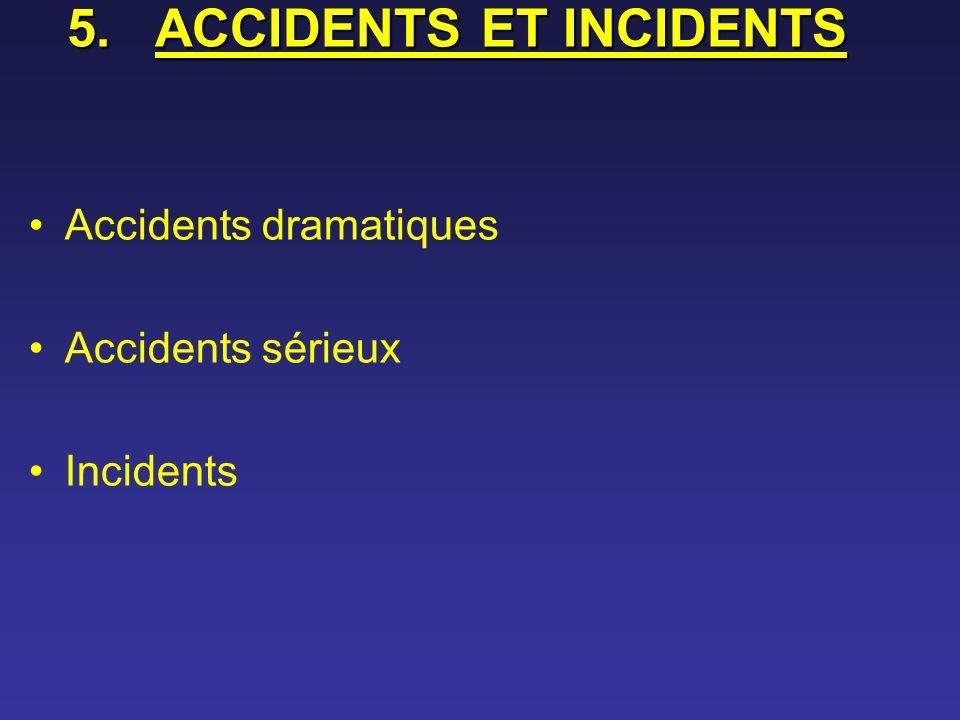 5.ACCIDENTS ET INCIDENTS Accidents dramatiques Accidents sérieux Incidents