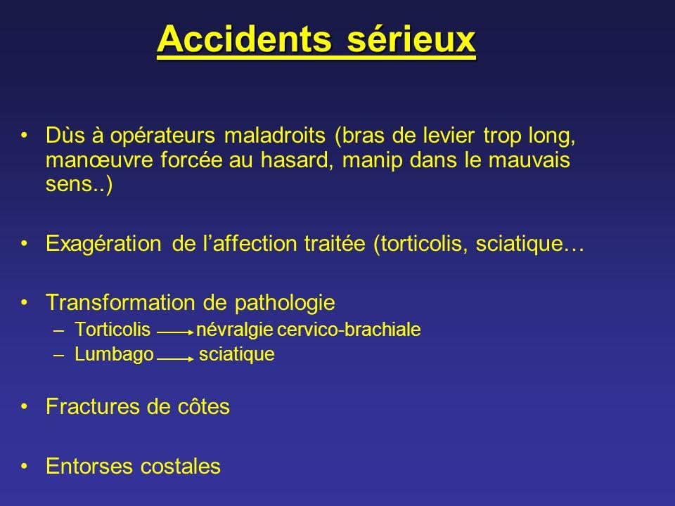 Accidents sérieux Dùs à opérateurs maladroits (bras de levier trop long, manœuvre forcée au hasard, manip dans le mauvais sens..) Exagération de laffe