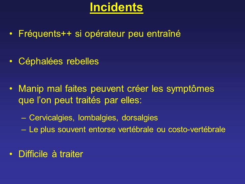 Incidents Fréquents++ si opérateur peu entraîné Céphalées rebelles Manip mal faites peuvent créer les symptômes que lon peut traités par elles: –Cervi
